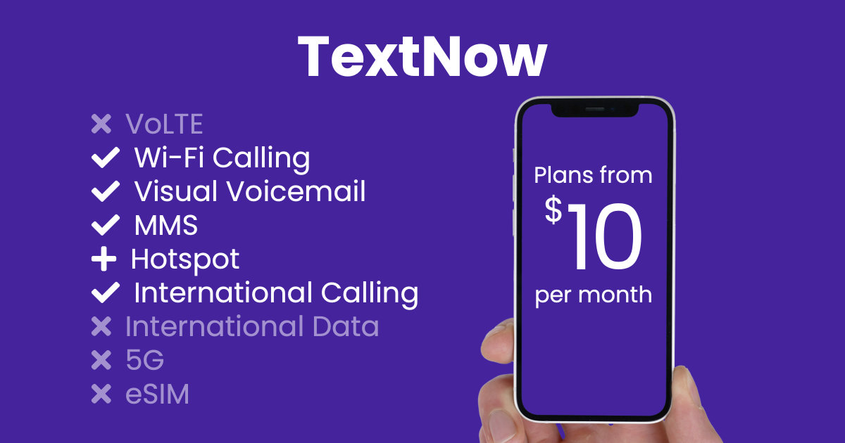 TextNow plan features and starting price