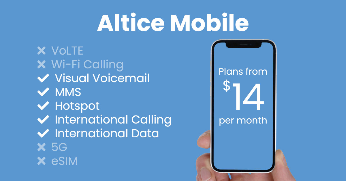Altice Mobile plan features and starting price