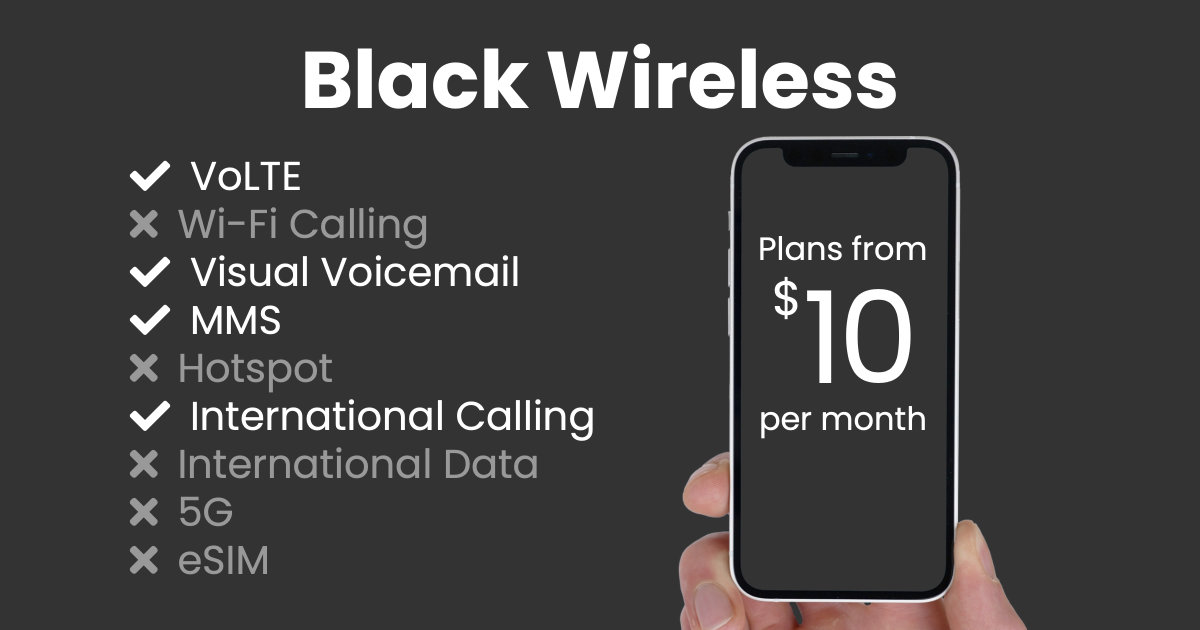 Black Wireless plan features and starting price