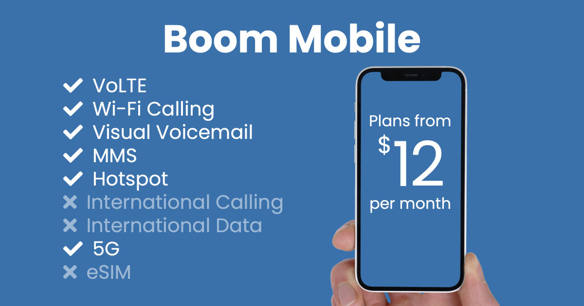 Boom Mobile plan features and starting price