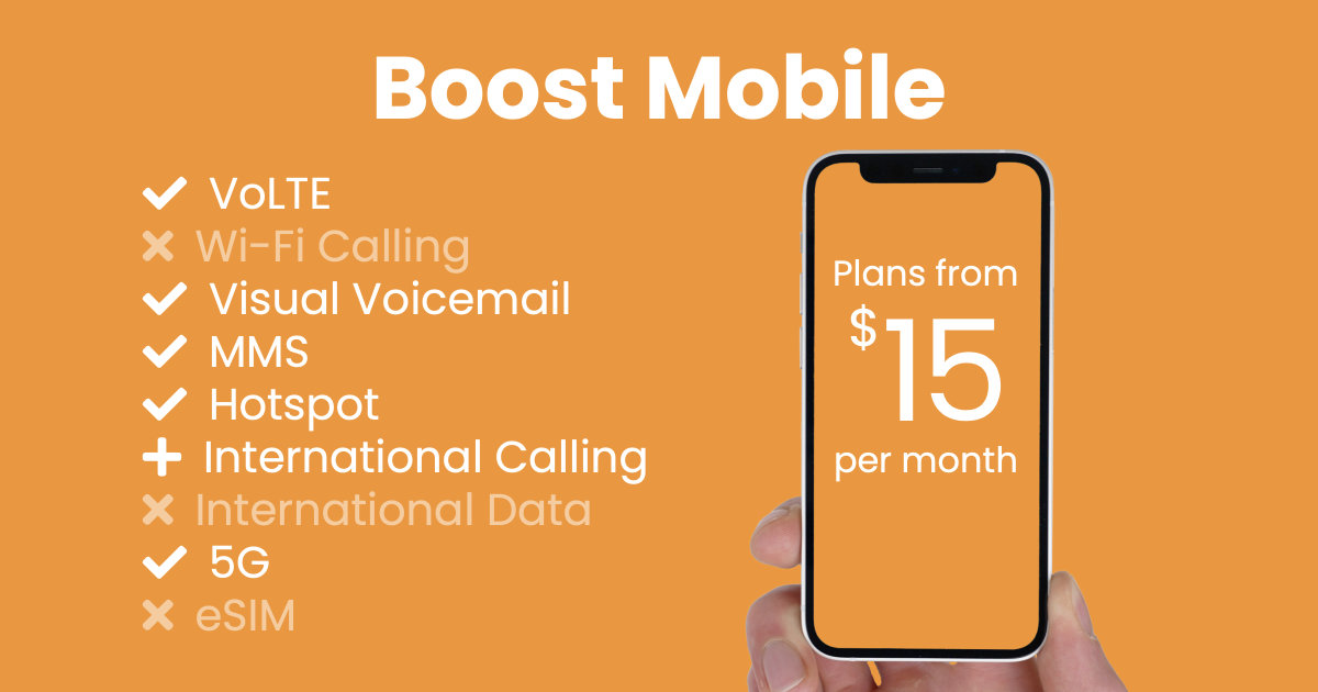 Boost Mobile plan features and starting price