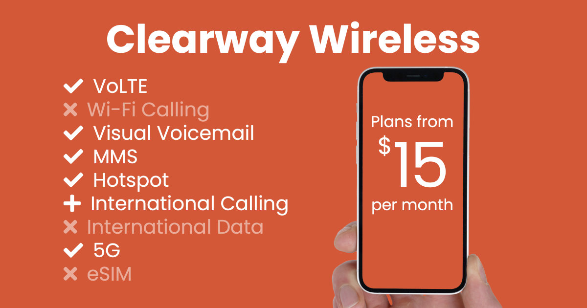 Clearway Wireless plan features and starting price