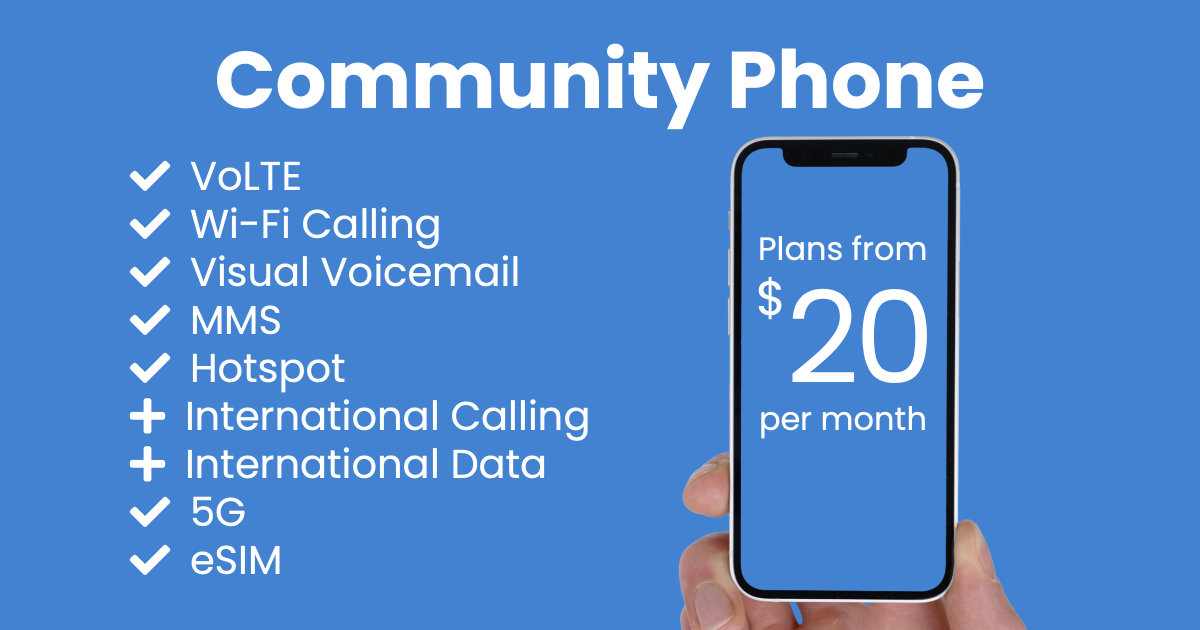 Community Phone plan features and starting price