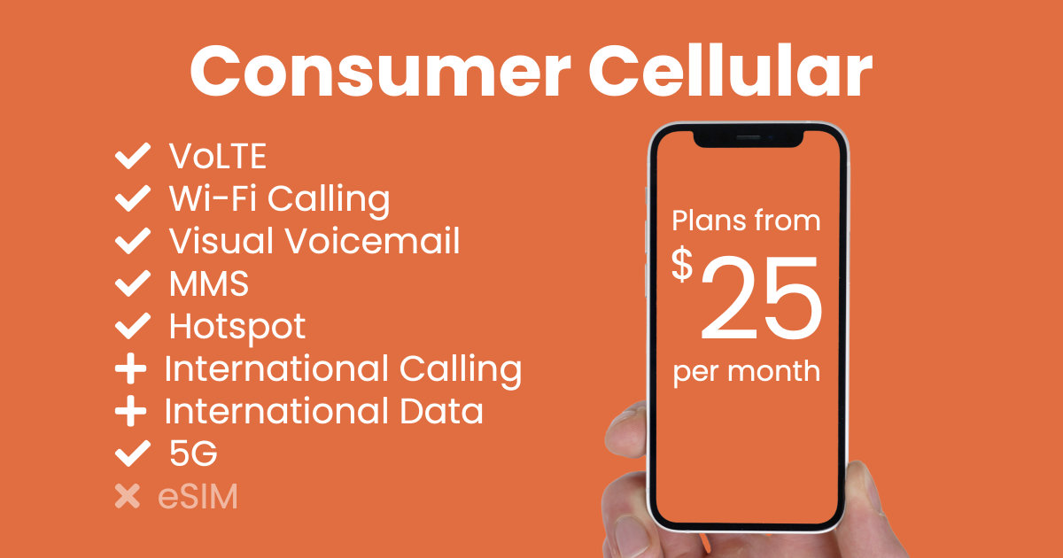 Consumer Cellular plan features and starting price