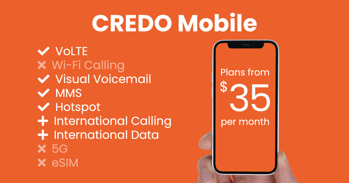 CREDO Mobile plan features and starting price