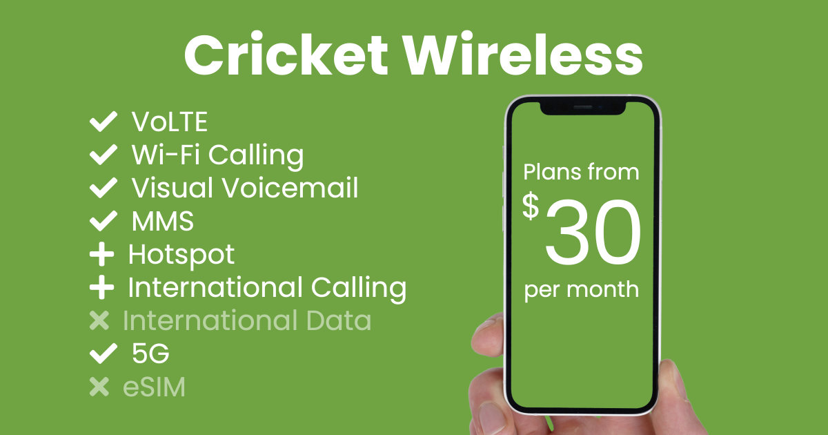 Cricket Wireless plan features and starting price