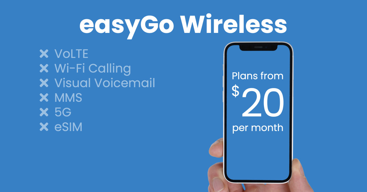 easyGo Wireless plan features and starting price