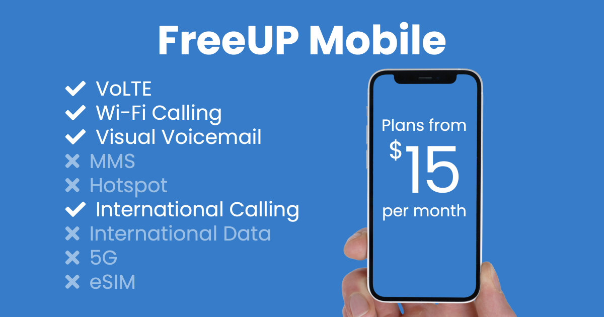 FreeUP Mobile plan features and starting price