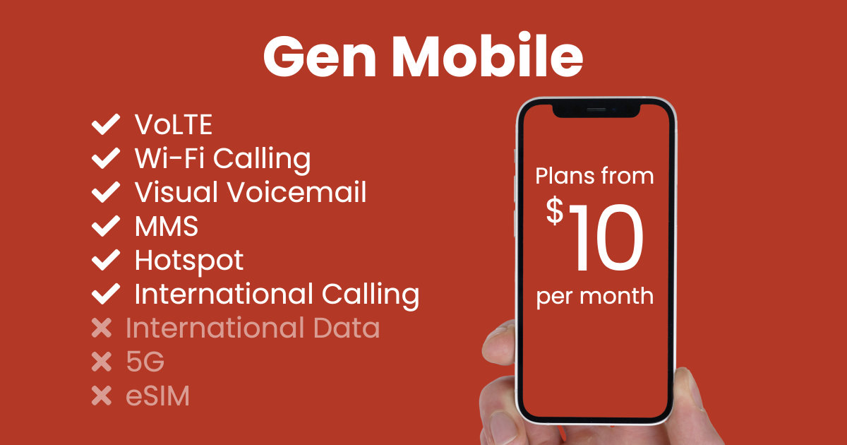 Gen Mobile plan features and starting price