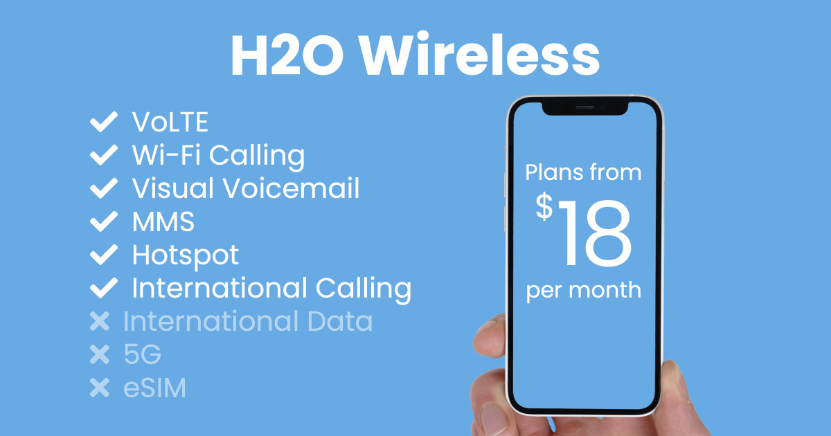 H2O Wireless plan features and starting price