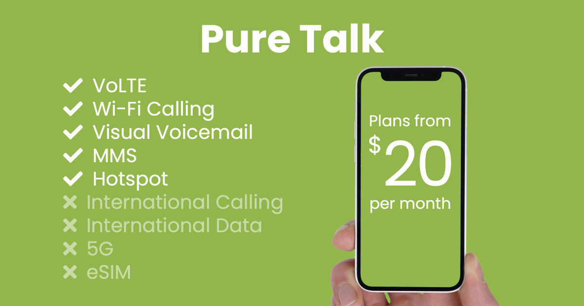 Pure Talk plan features and starting price