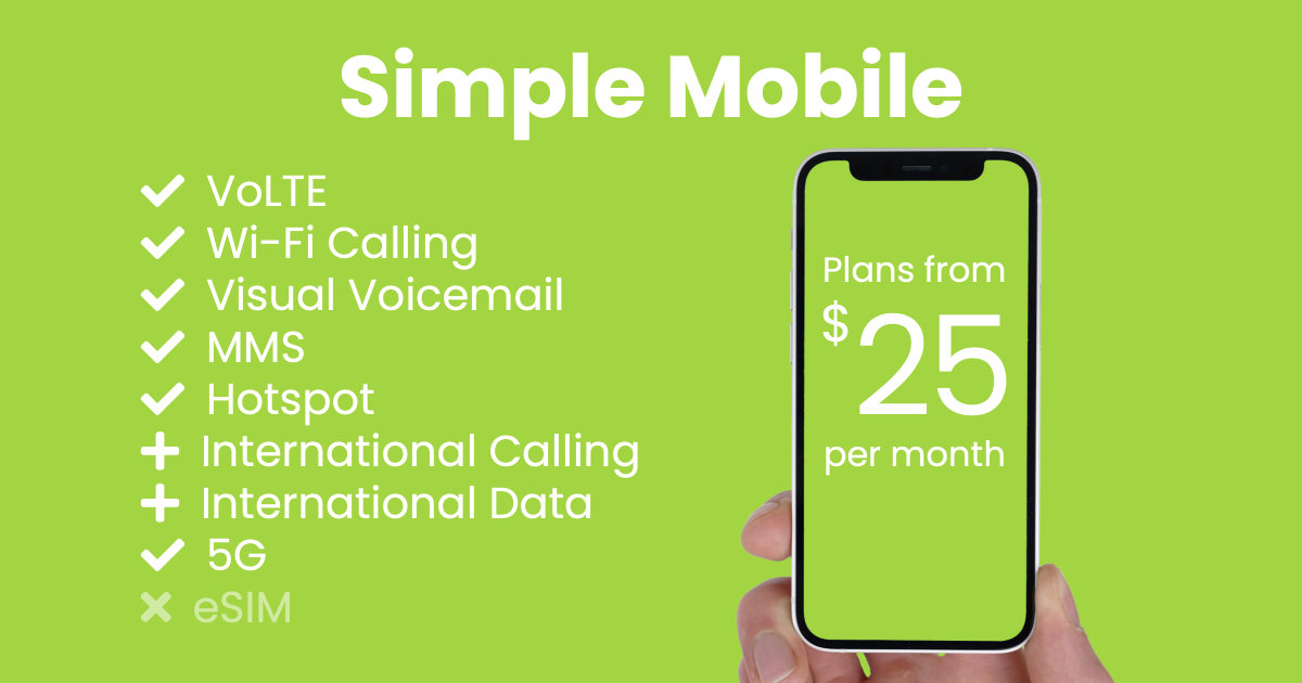 Simple Mobile plan features and starting price