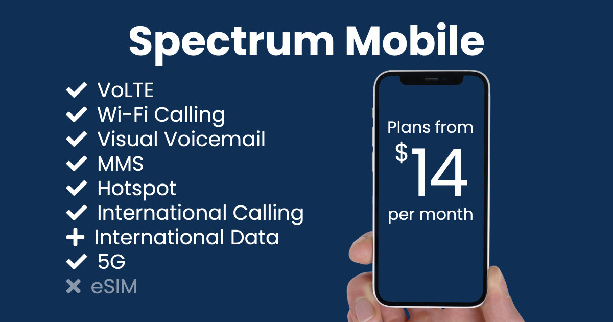 Spectrum Mobile plan features and starting price