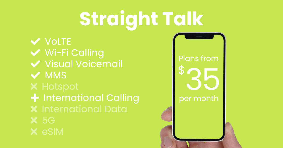 Straight Talk plan features and starting price