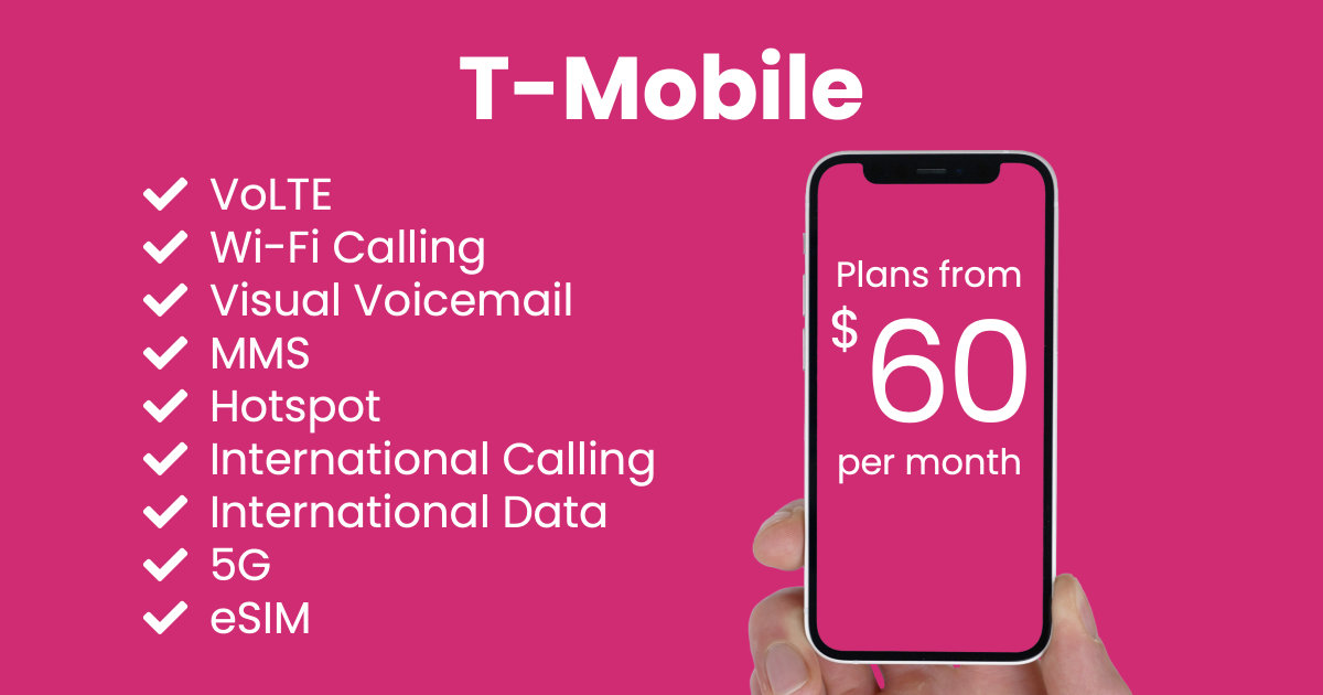 T-Mobile plan features and starting price