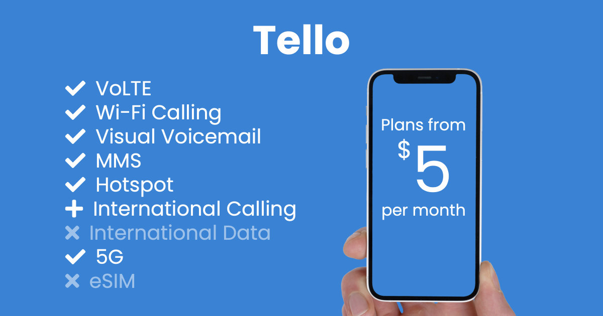 Tello plan features and starting price