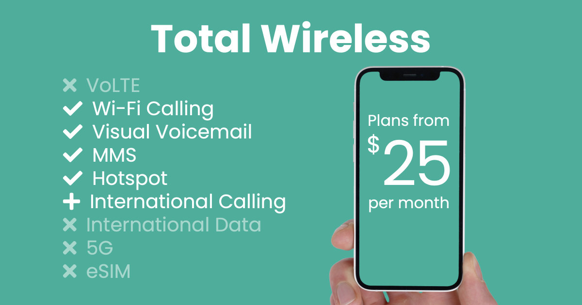 Total Wireless plan features and starting price