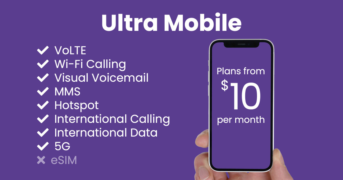 Ultra Mobile plan features and starting price
