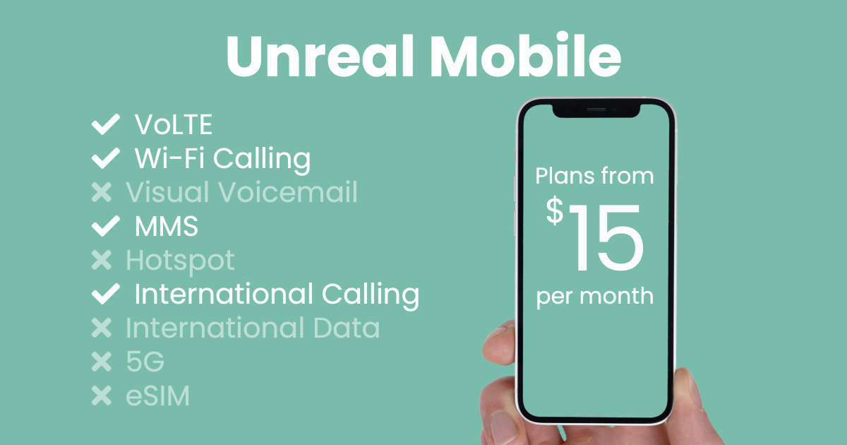 Unreal Mobile plan features and starting price