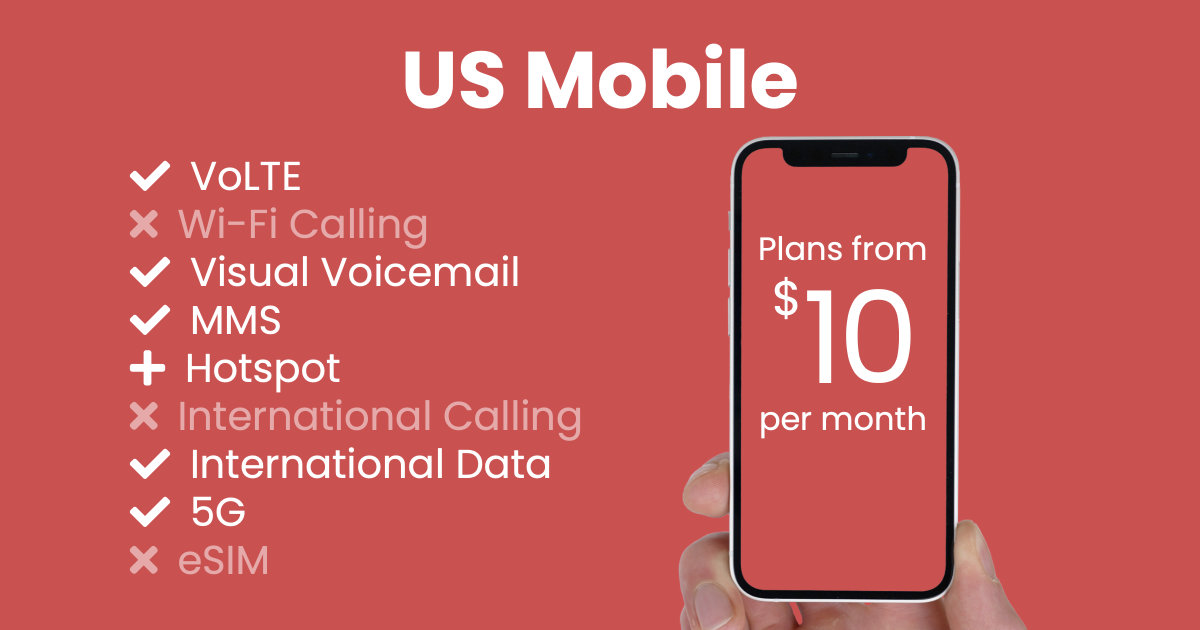 US Mobile plan features and starting price