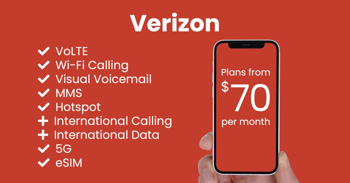 Verizon plan features and starting price