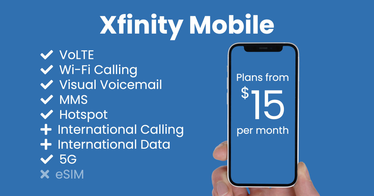 Xfinity Mobile plan features and starting price