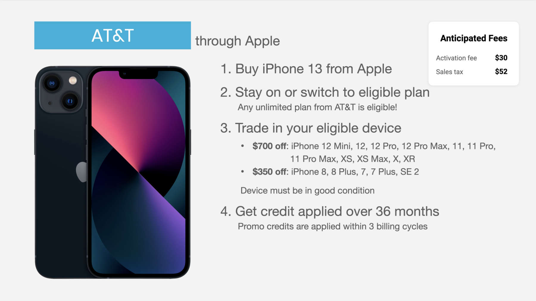 how to get AT&T iPhone 13 trade in deal through Apple