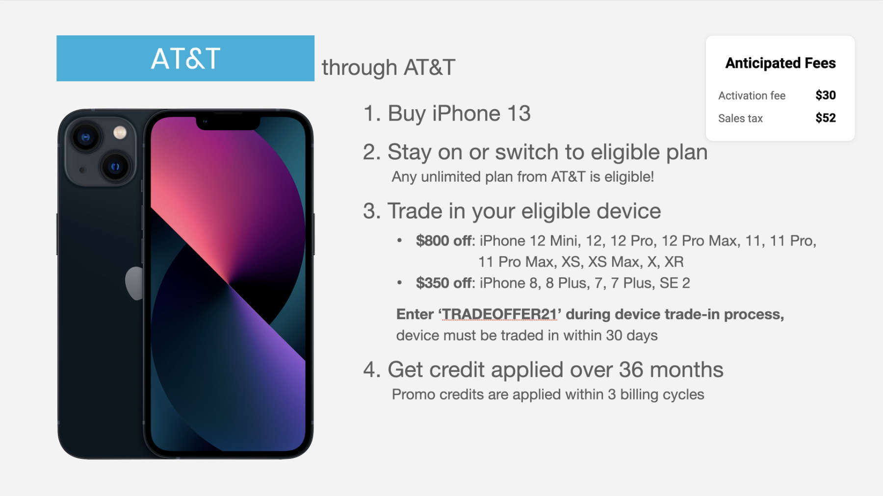 how to get AT&T iPhone 13 trade in deal through AT&T