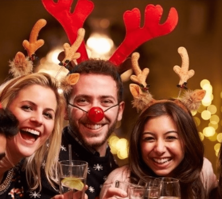 happy people at a holiday party