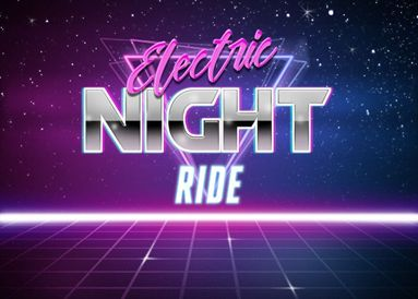"retro 80s background that says ""electric night ride"""