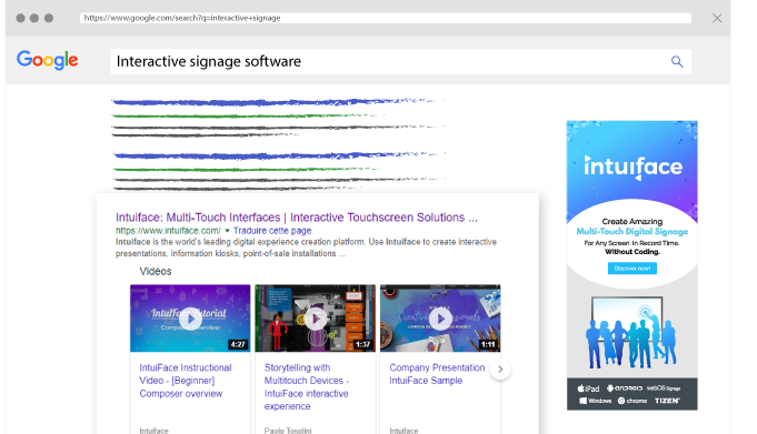"Intuiface website on Google SERP with ""Interactive Signage Software"" keyword"