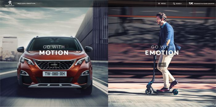 Preview of the website of Peugeot