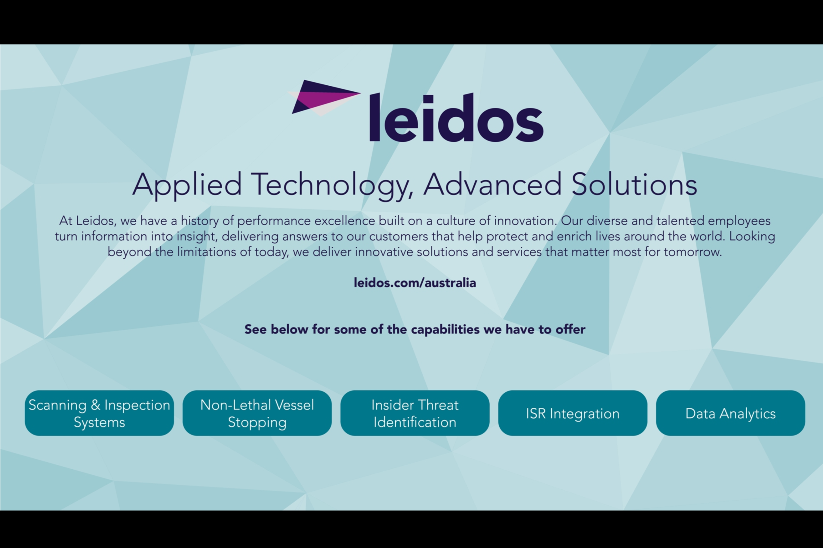 Intuiface Powered - Leidos Australia Touch Screen Demo