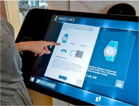Left hand using an Interactive touch-screen