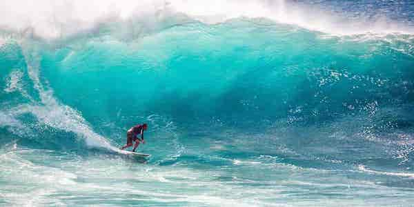 Man surfing a big wave