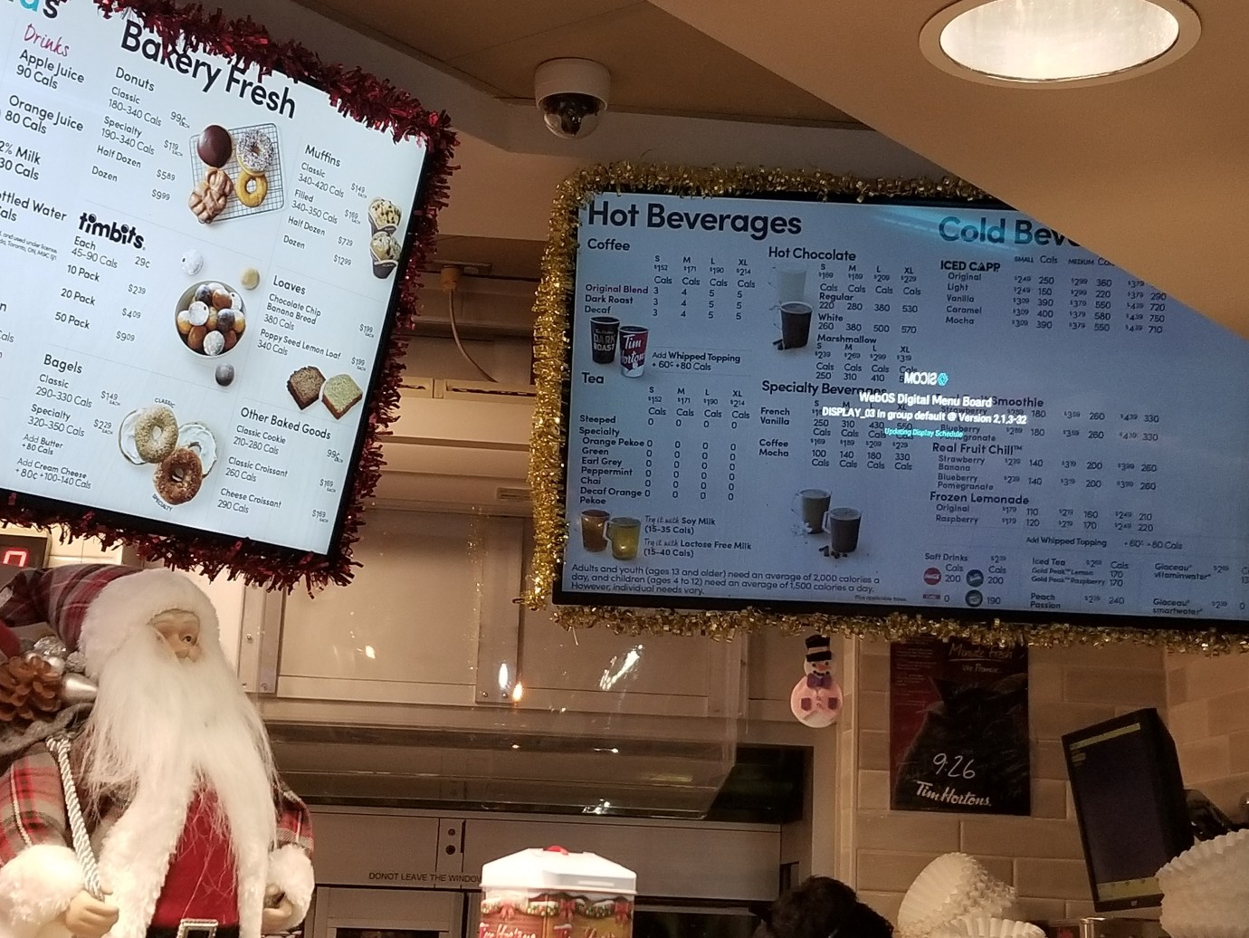 Digital Menu Board during Christmas