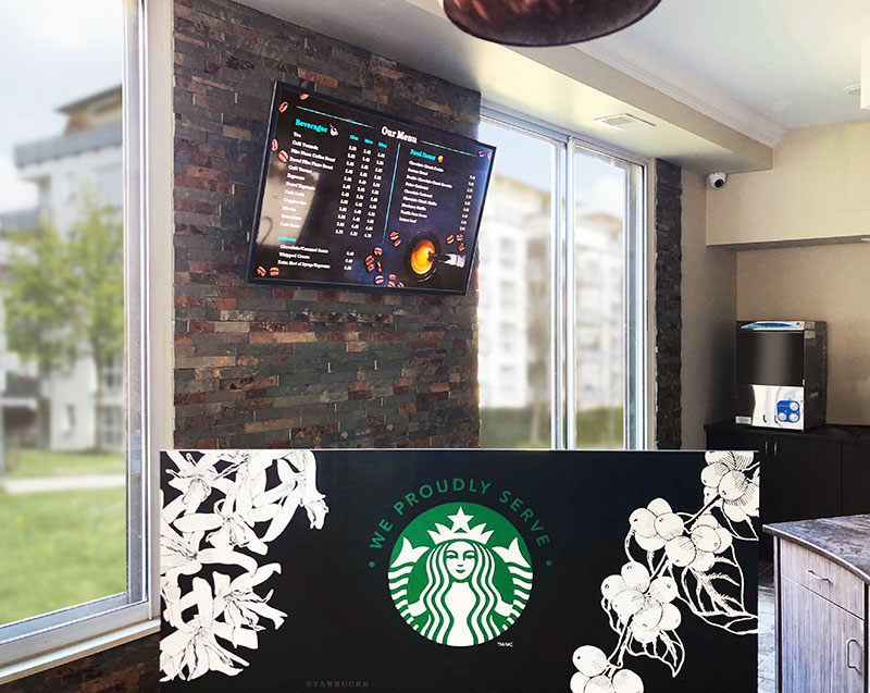 Intuiface powered digital signage at a starbucks branch