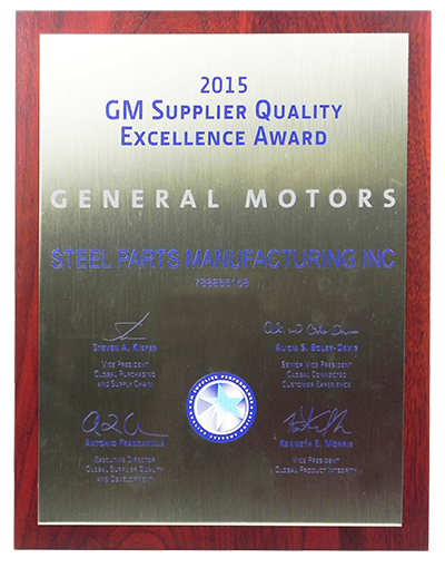 Steel Parts GM Supplier Quality Excellence Award 2015