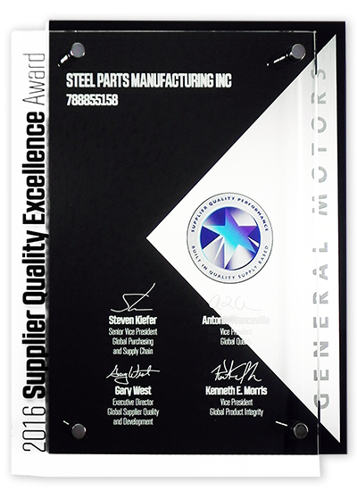 Steel Parts GM Supplier Quality Excellence Award 2016