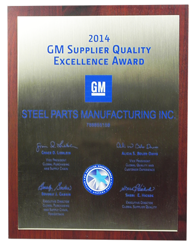 Steel Parts GM Supplier Quality Excellence Award 2014