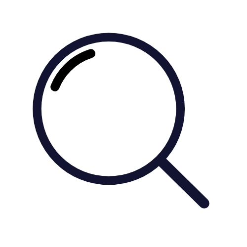 magnifying glass to search for content