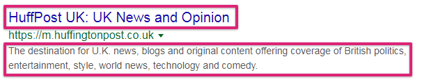 screenshot serp huffington post meta description title tag - search engine optimization
