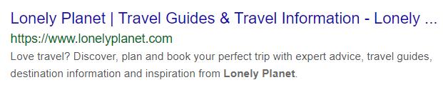 a screenshot of Lonely Planet's website meta description