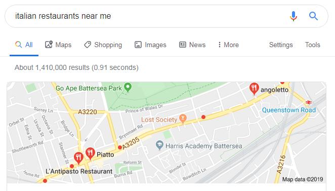 screenshot google search 'italian restaurants near me' local map - SERPs