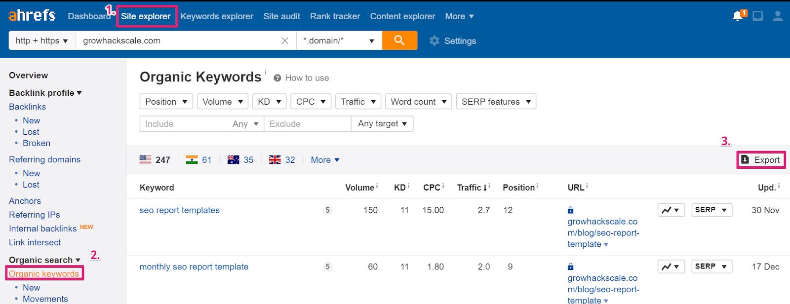 screenshot ahrefs organic keyword report - keyword cannibalization