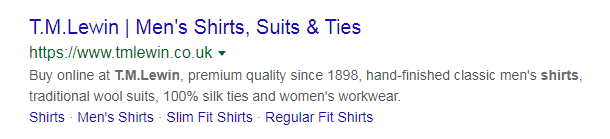 screenshot standard snippet tm lewin shirts - search snippets