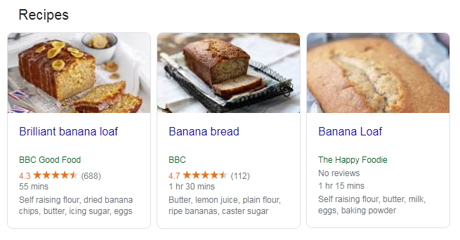 screenshot rich snippet banana bread recipes - search snippets