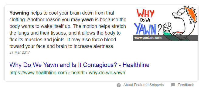 screenshot featured snippet why do we yawn - search snippets