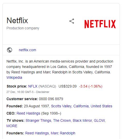 A screenshot of Netflix organizational schema markup