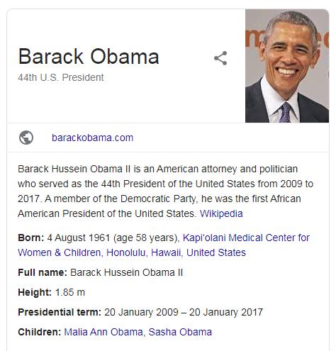 A screenshot of Barack Obama schema markup